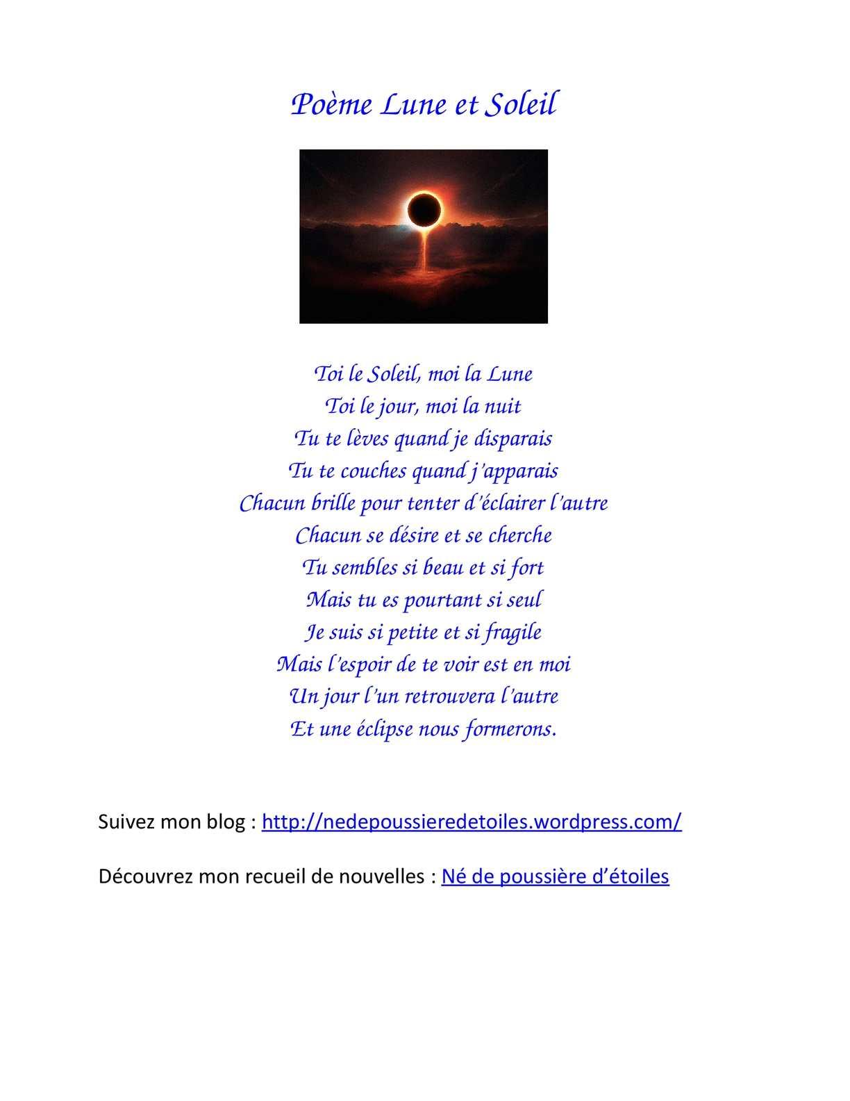 La Lune Et Le Soleil Poésie : soleil, poésie, Calaméo, Poème, Soleil