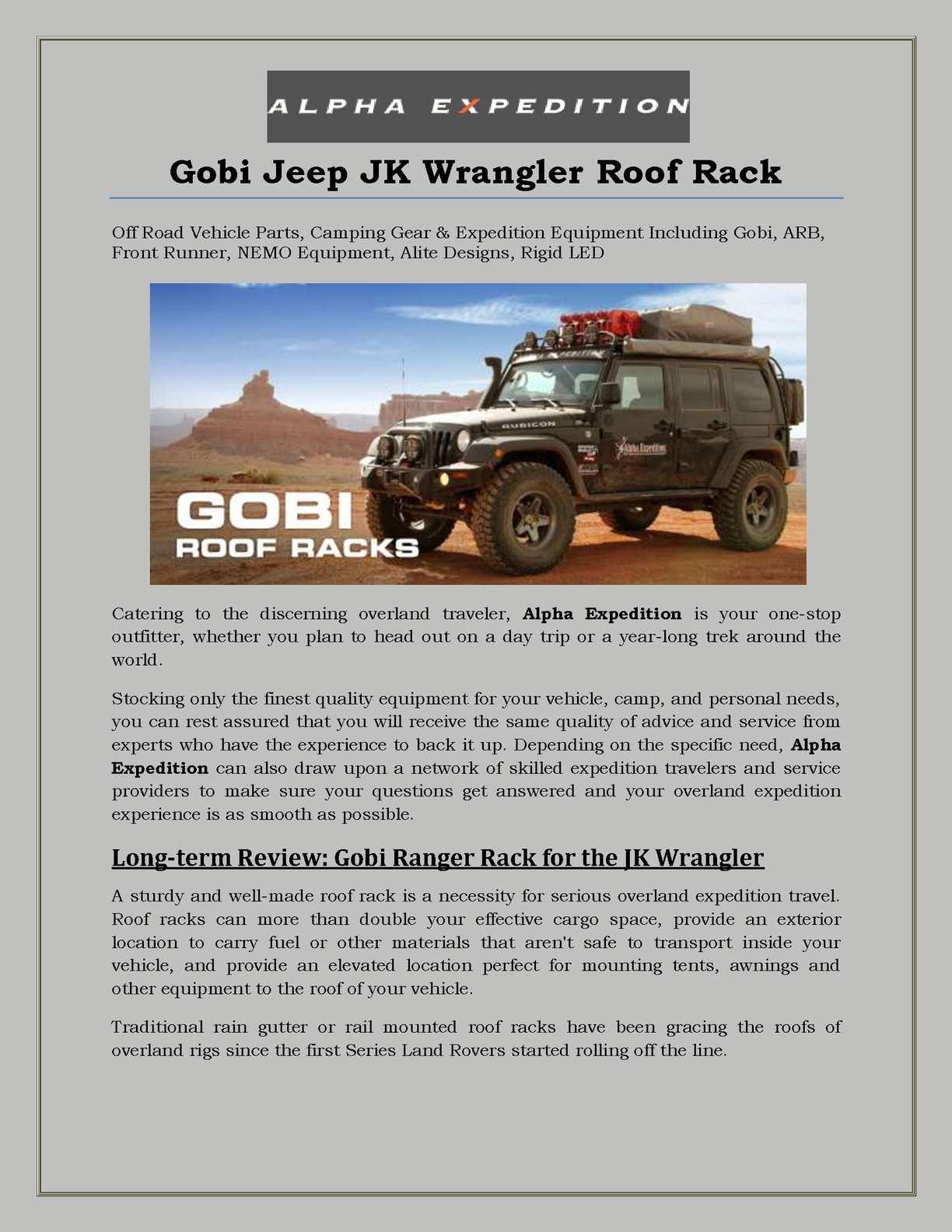 calameo gobi jeep jk wrangler roof rack