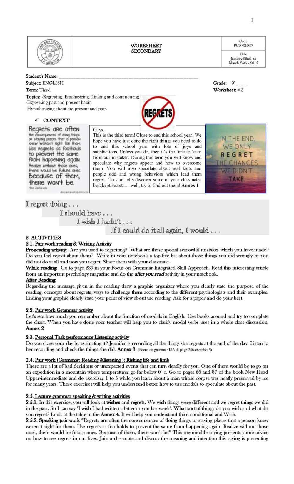 medium resolution of Calaméo - 3rd Worksheet 9th Grade