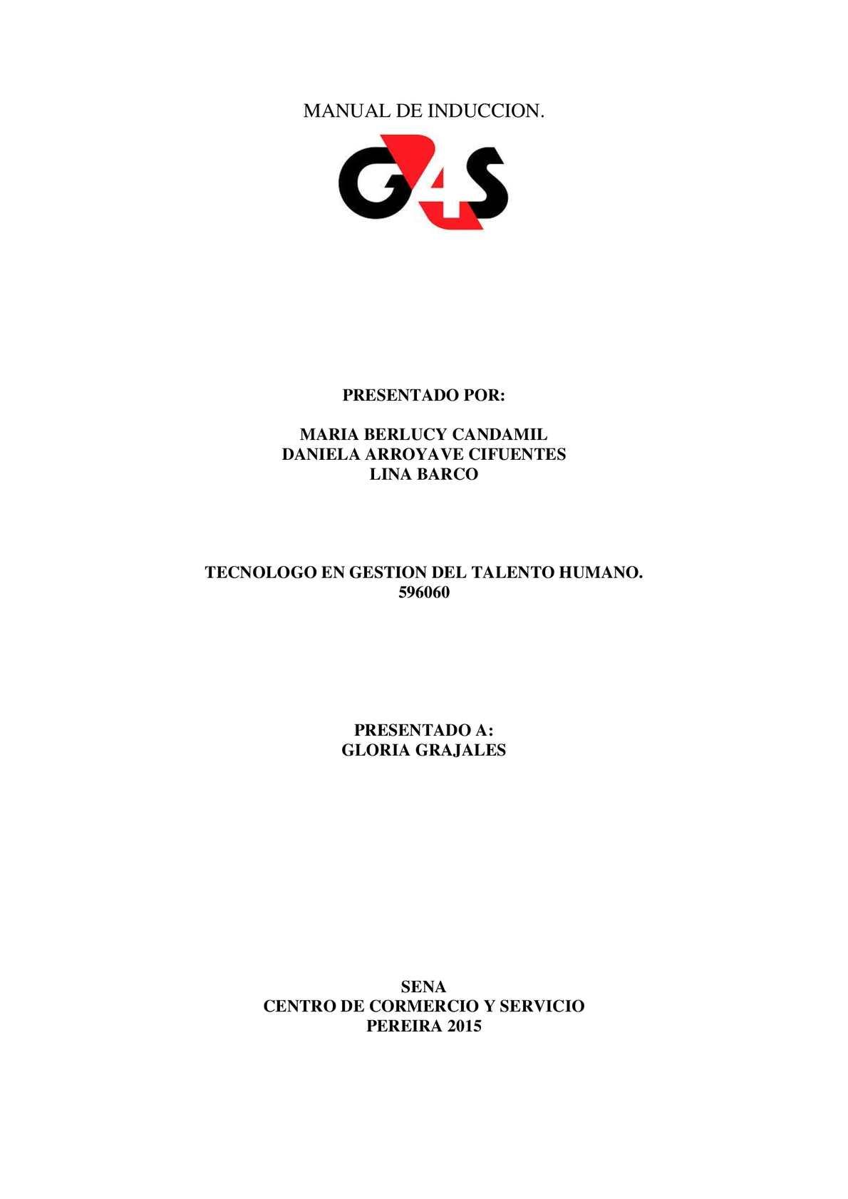 Calamo  Manual De Induccion De La Empresa G4s