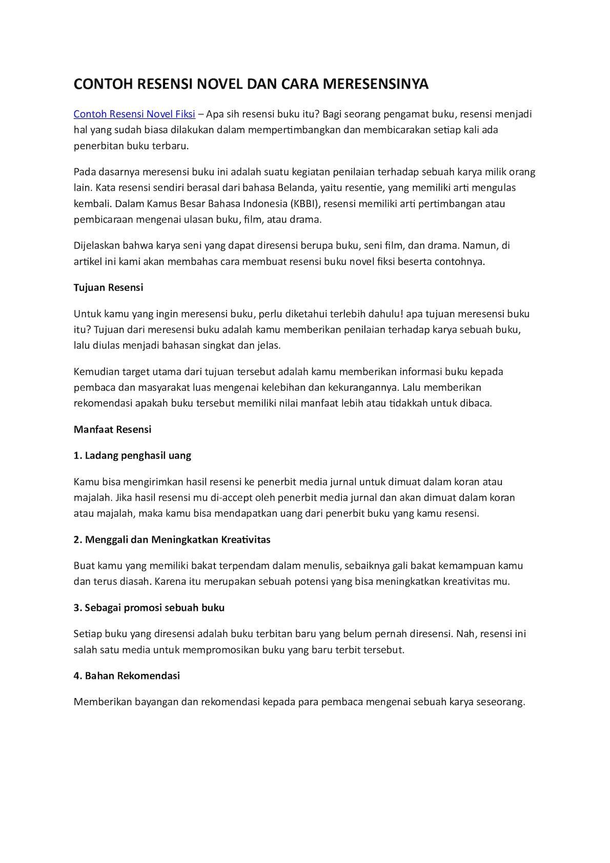 Cara Membuat Sinopsis Novel : membuat, sinopsis, novel, Calaméo, Contoh, Resensi, Novel, Meresensinya