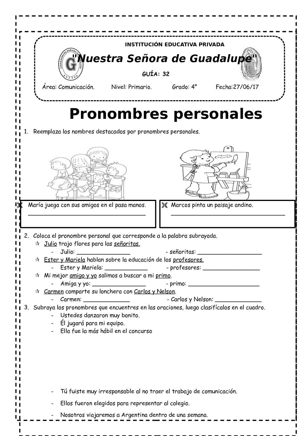 Reemplaza Los Nombres Destacados Por Pronombres Personales