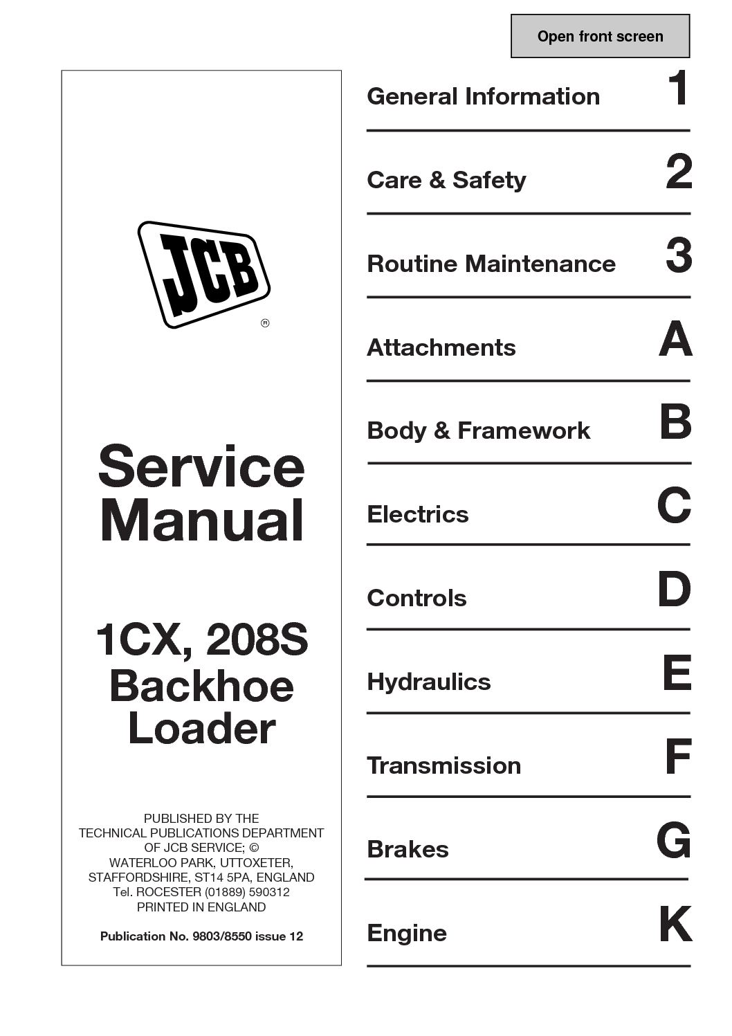 hight resolution of  array calam o jcb 1cx backhoe loader service repair manual sn 751600 to rh calameo
