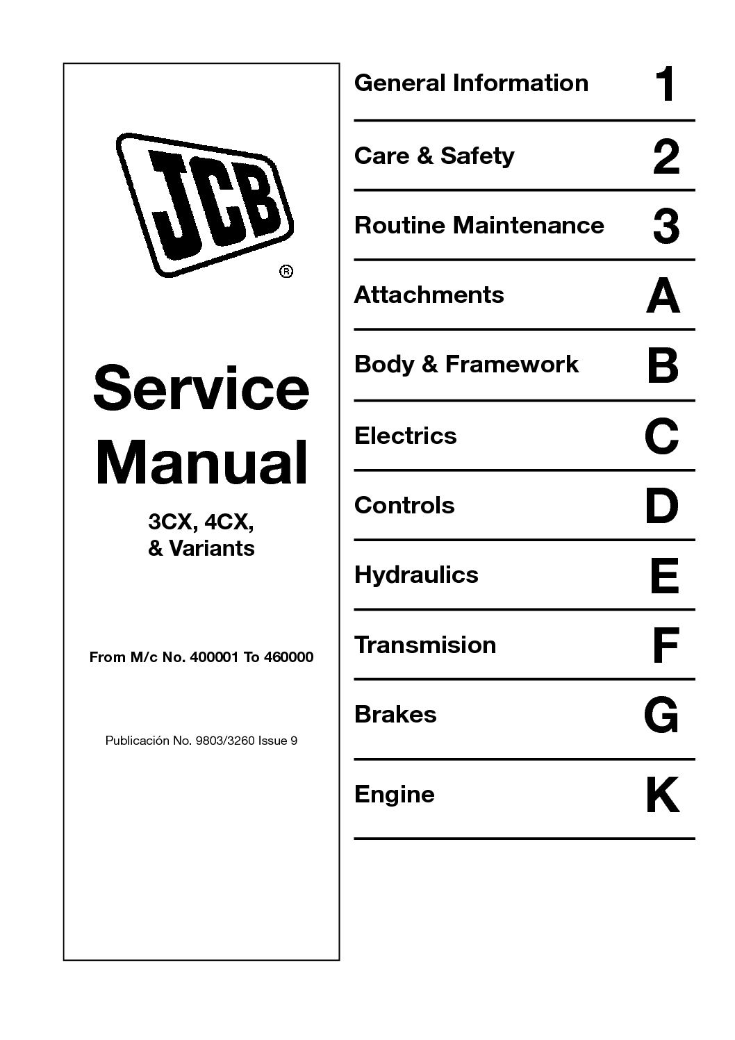 hight resolution of calam o jcb 4cx backhoe loader service repair manual sn400001 to 4600000