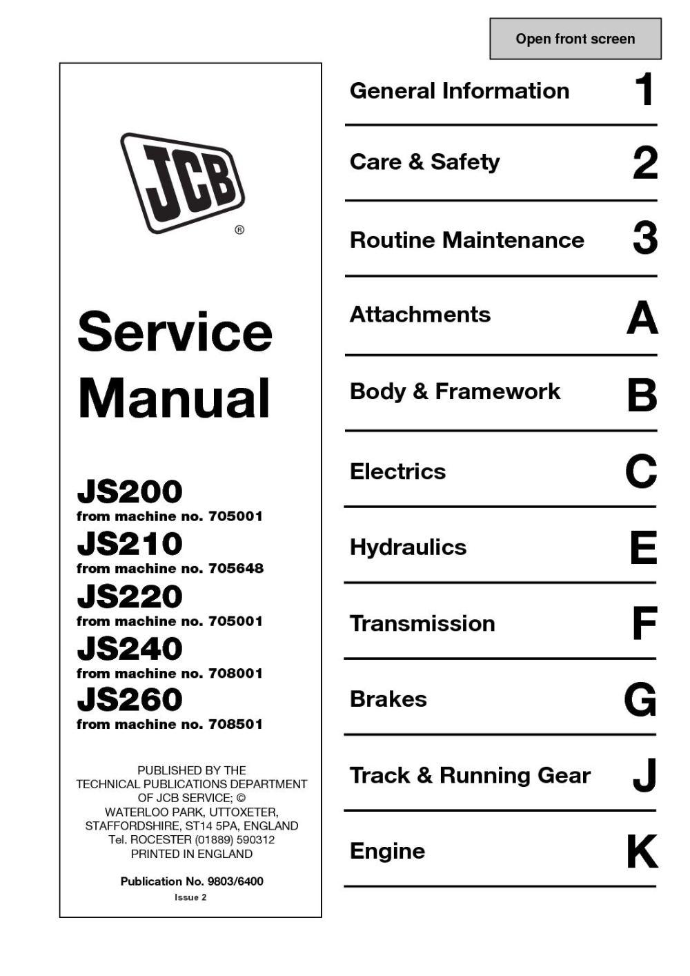 medium resolution of jcb js220 tracked excavator service repair manual sn 705001 onwards
