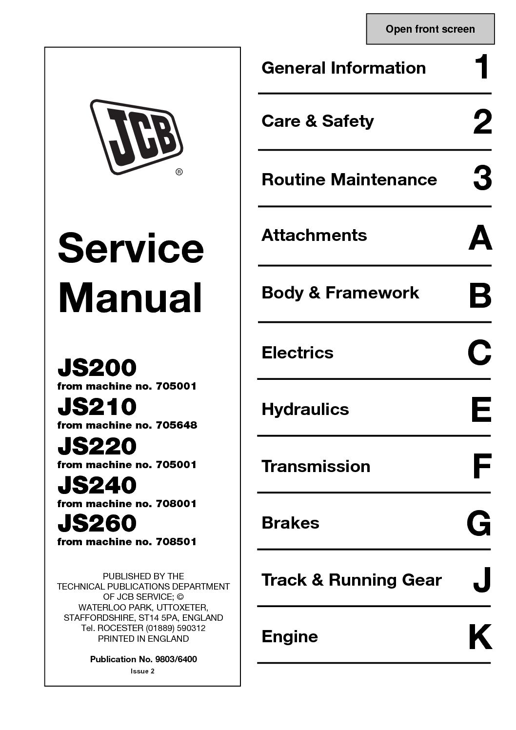 hight resolution of jcb js220 tracked excavator service repair manual sn 705001 onwards