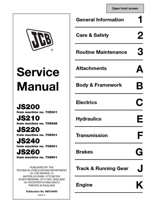 small resolution of jcb js220 tracked excavator service repair manual sn 705001 onwards