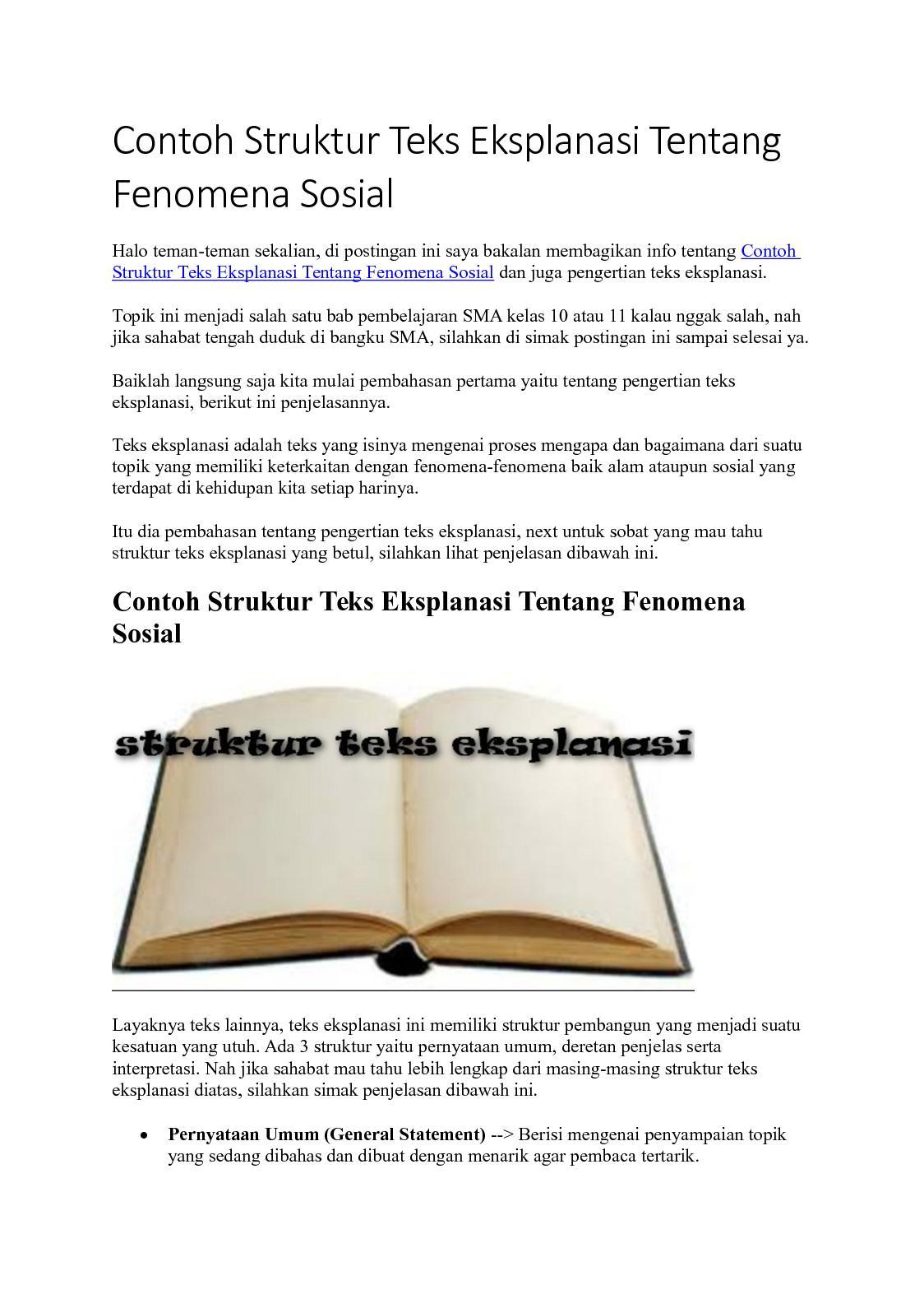 Contoh Teks Eksplanasi Fenomena Sosial : contoh, eksplanasi, fenomena, sosial, Calaméo, Contoh, Struktur, Eksplanasi, Tentang, Fenomena, Sosial