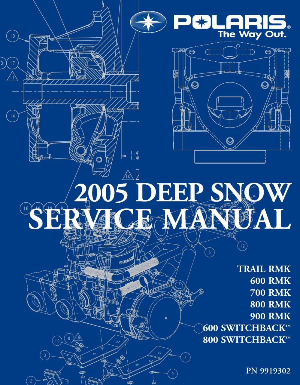 medium resolution of 2005 polaris 900 rmk 151 snowmobile service repair manual