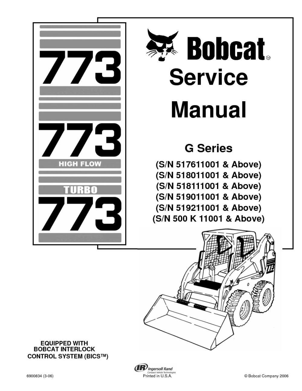 medium resolution of calam o bobcat 773 skid steer loader service repair manual sn 500 k 11001 above