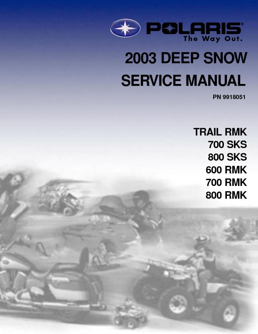 medium resolution of 2003 polaris 800 rmk 151 snowmobile service repair manual