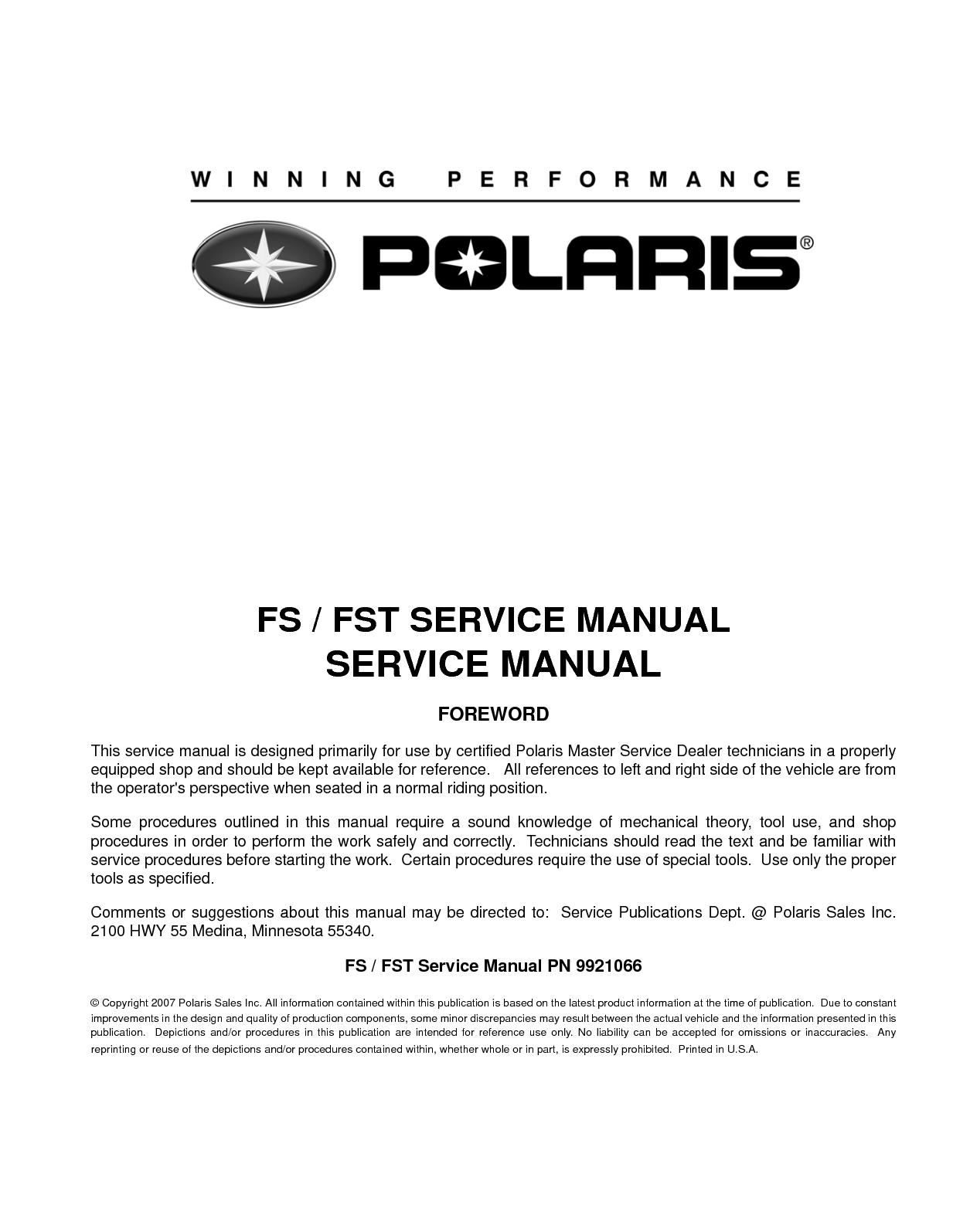 hight resolution of 2008 polaris fs iq touring snowmobile service repair manual