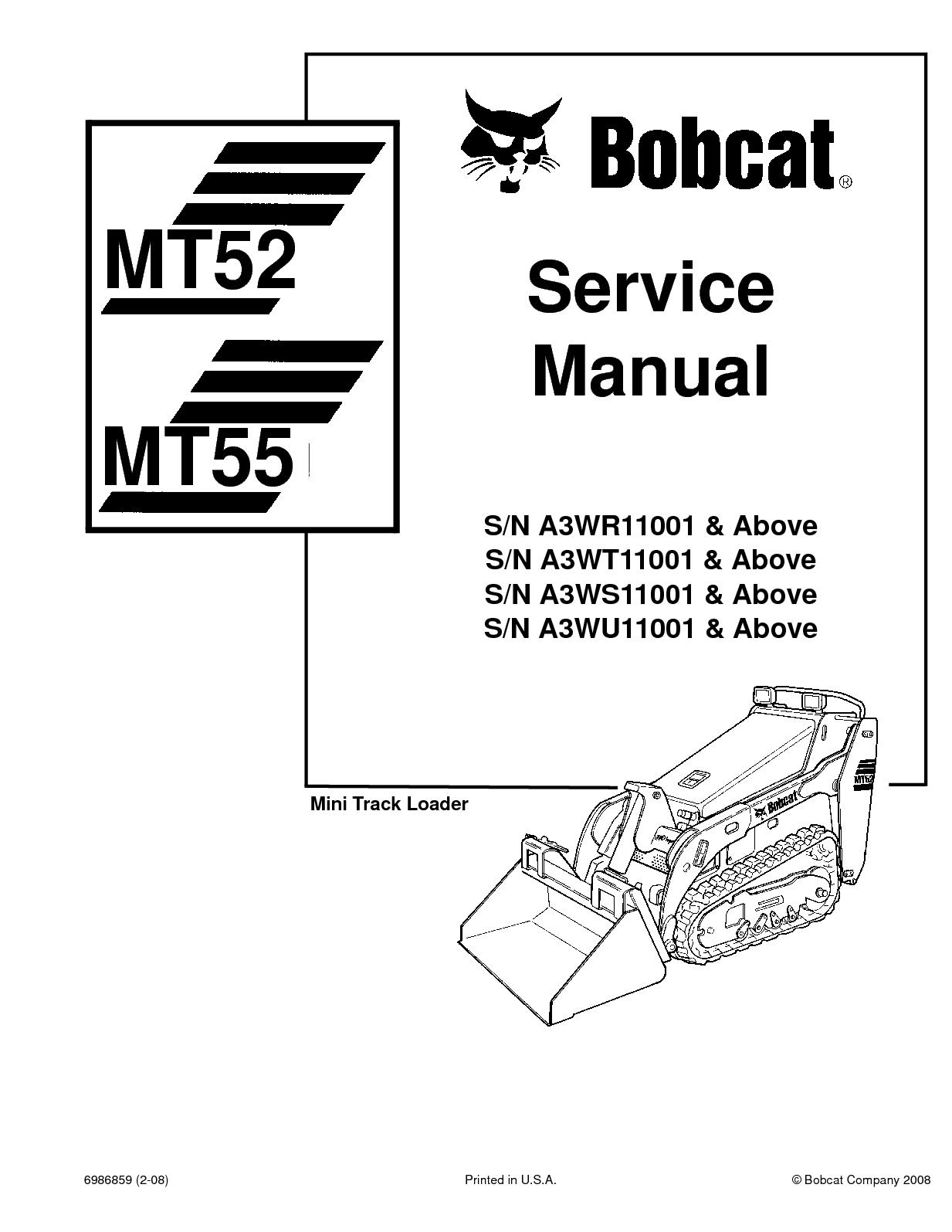 hight resolution of bobcat mt55 compact track loader service repair manual sn a3wr11001 above