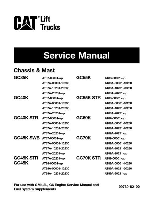 small resolution of caterpillar cat gc40k forklift lift trucks service repair manual snat87 00001 and up