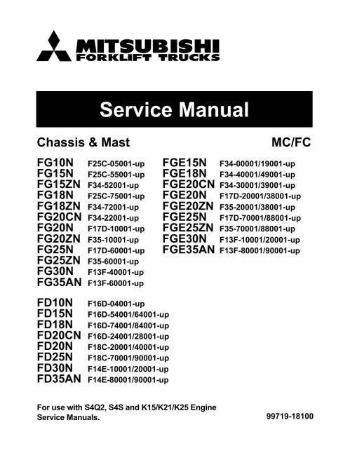 small resolution of mitsubishi fg18zn forklift trucks service repair manual sn f34 70001 up