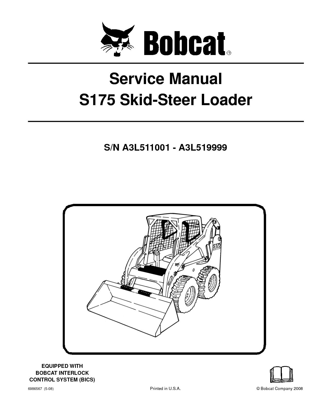 hight resolution of calam o bobcat s175 skid steer loader service repair manual sn bobcat skid loader belt diagrams