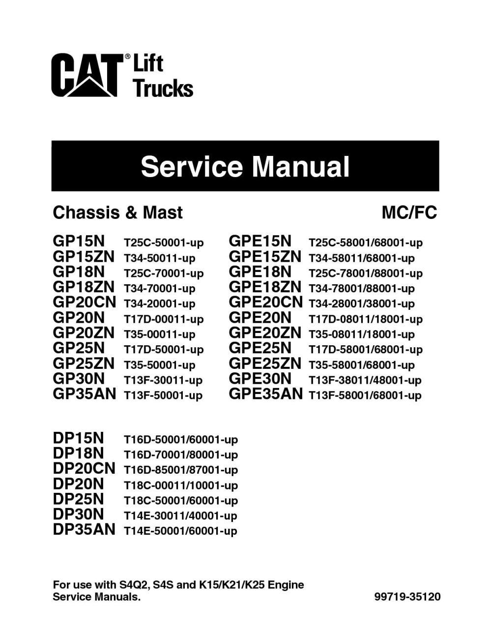 medium resolution of caterpillar cat gp35n forklift lift trucks service repair manual snt13f 50001 and up