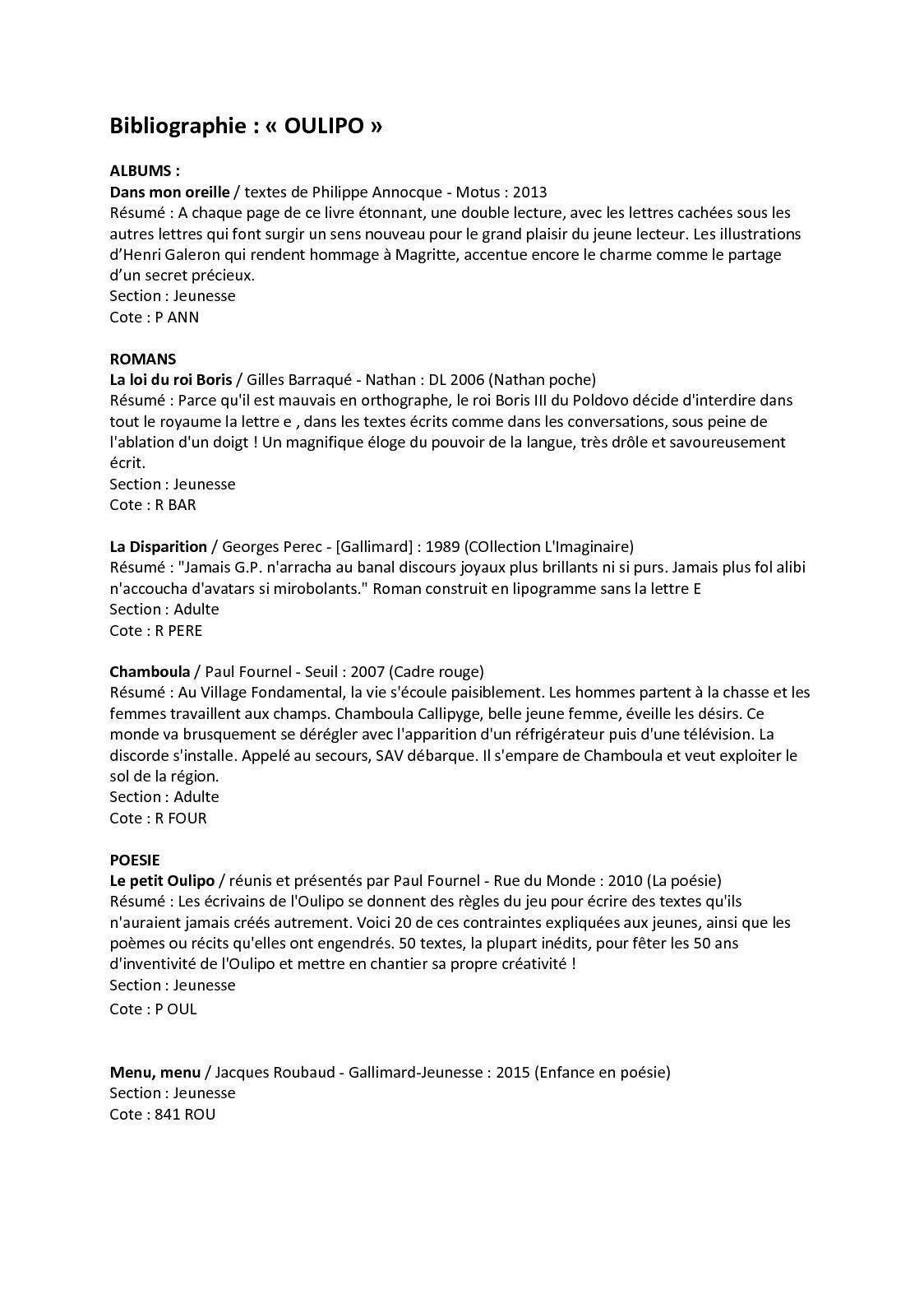 Texte Sans La Lettre E : texte, lettre, Calaméo, Bibliographie