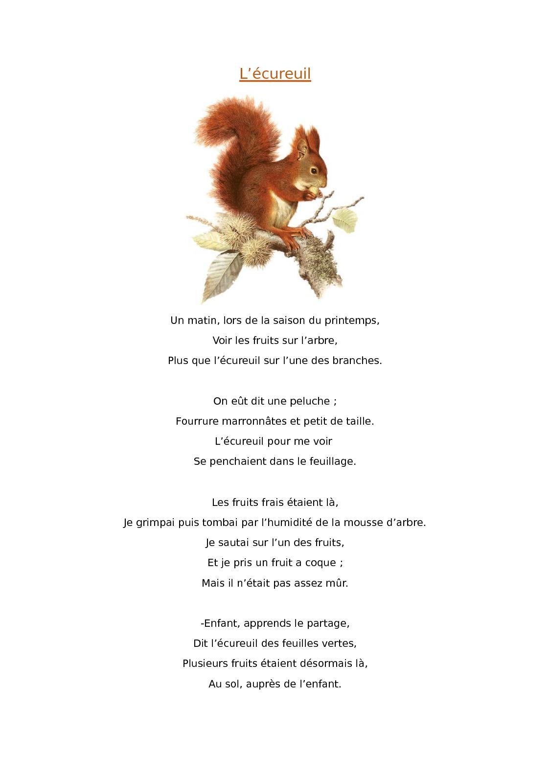 Poésie L écureuil Et La Feuille : poésie, écureuil, feuille, Calaméo, L'écureuil