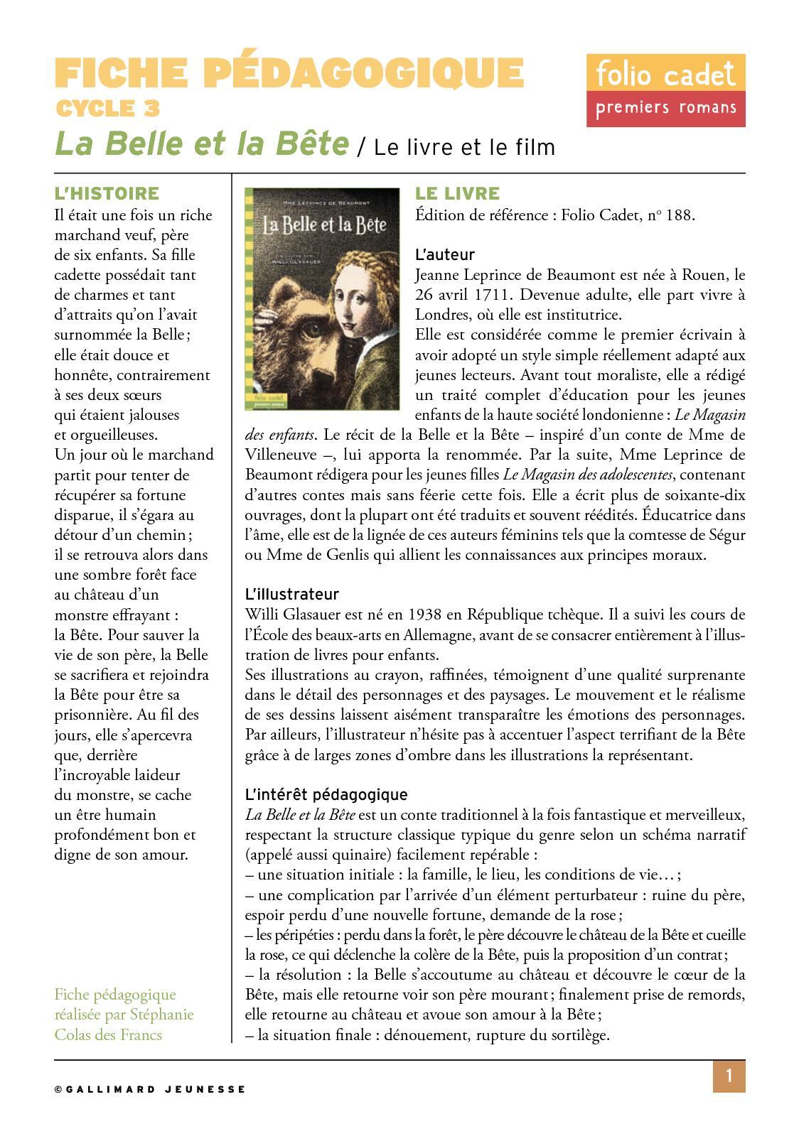 La Belle Et La Bête Fiche De Lecture : belle, bête, fiche, lecture, Calaméo, Cocteau, Belle