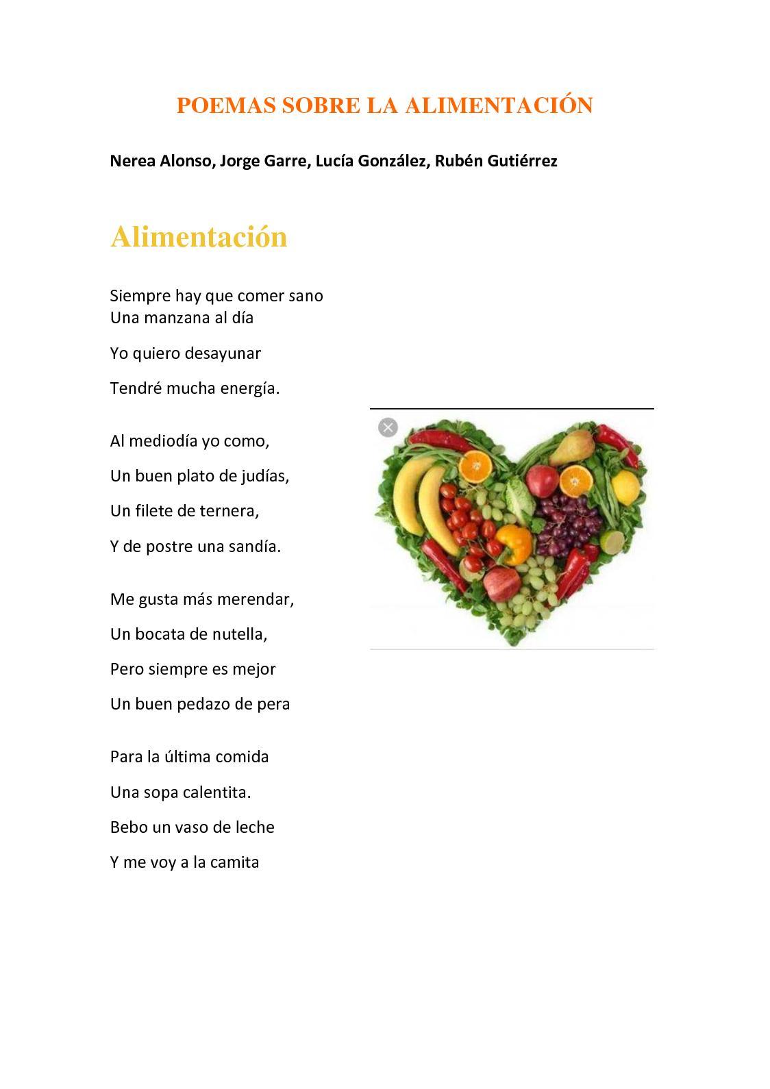 Calamo  Poemas De La Alimentacin