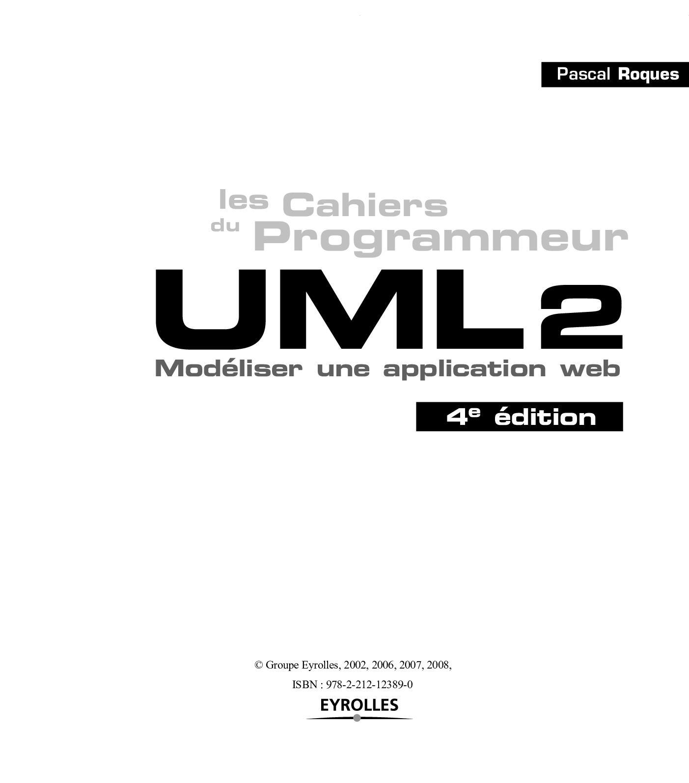 CAHIER DU PROGRAMMEUR UML2 PDF