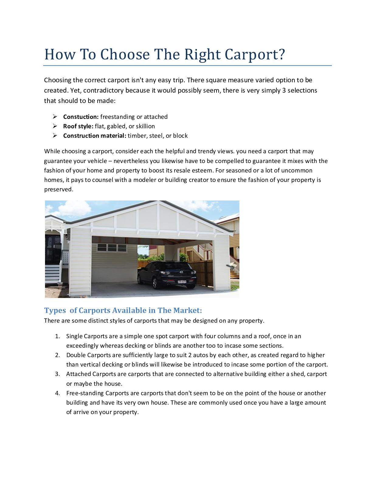 Calameo How To Choose The Right Carport