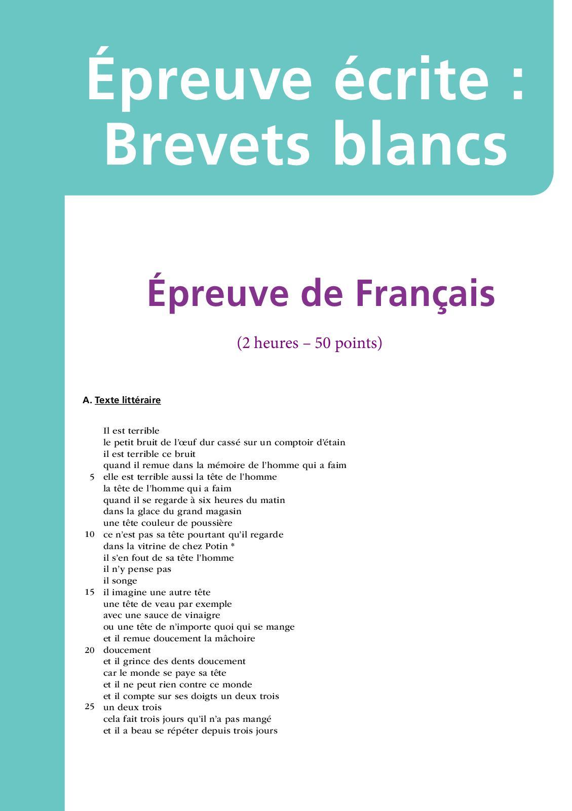 Jacques Prévert La Grasse Matinée : jacques, prévert, grasse, matinée, Calaméo, Brevet, Blanc, Français, Télécharger