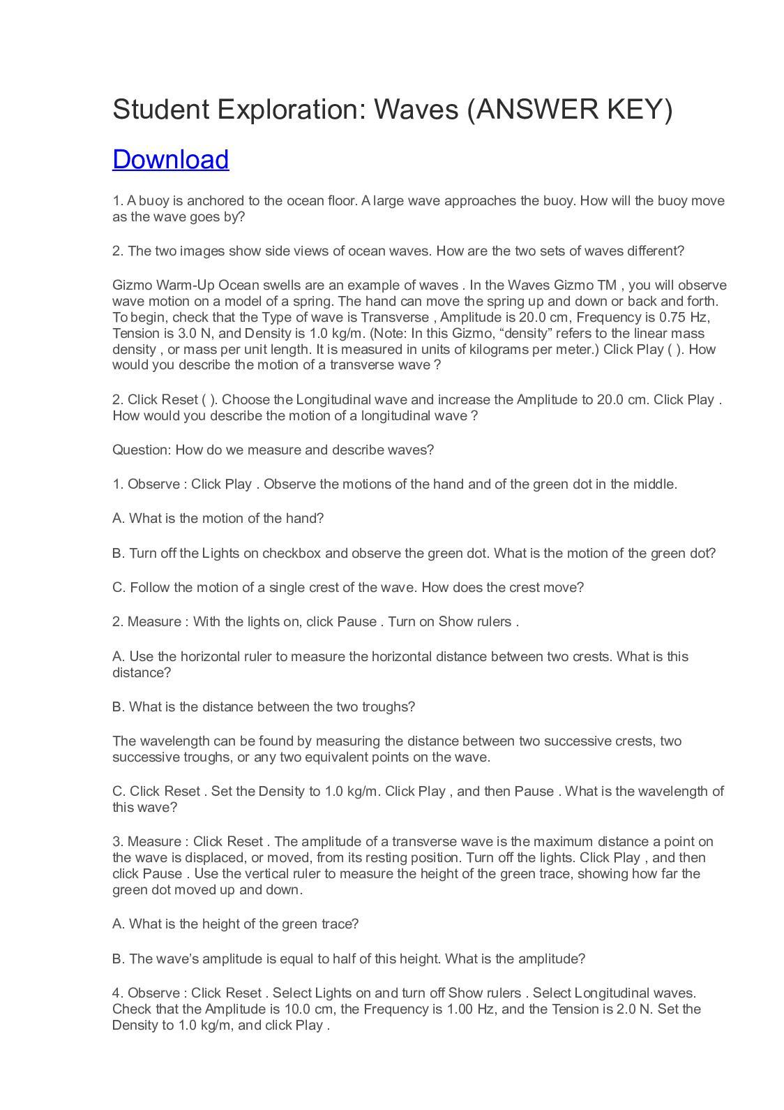 Waves Gizmo Worksheet Answer Key Tutore