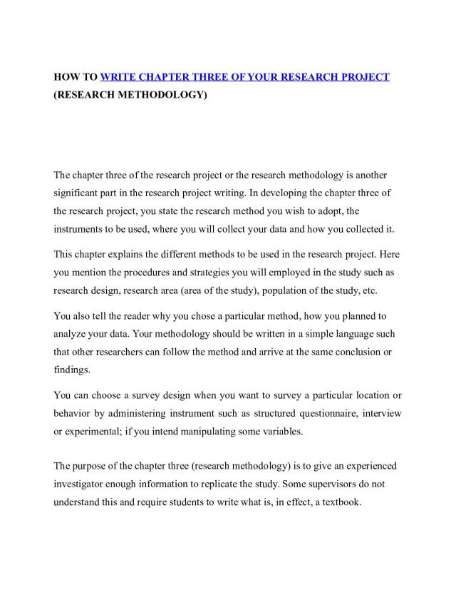 Calaméo - How To Write Chapter Three Of Your Research Project