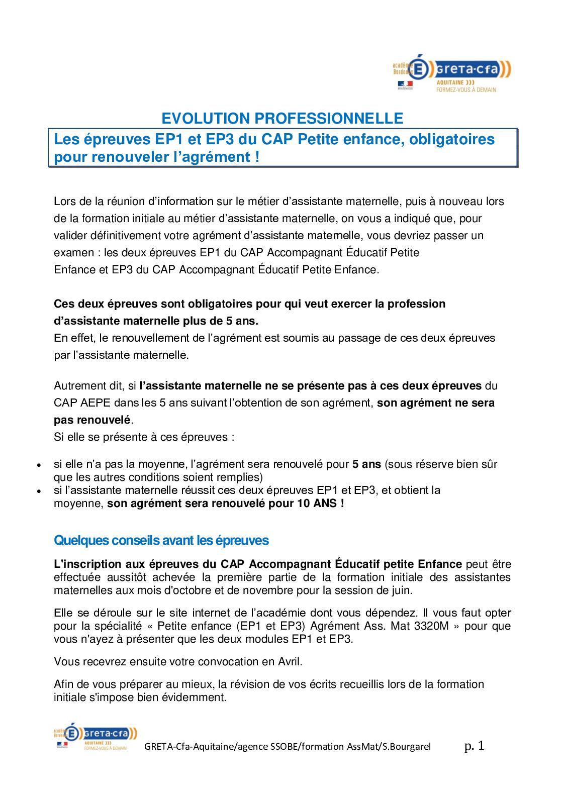 Fiche Ep1 Cap Aepe : fiche, Calaméo, Evolution, Professionnelle