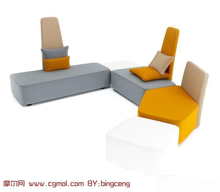 round black kitchen table waste bins 时尚简易沙发组合3d模型_室内家具_室内模型_3d模型免费下载_摩尔网