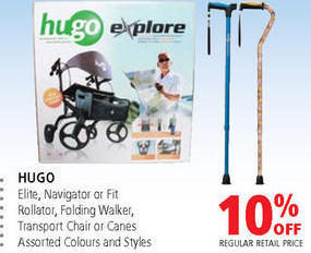 hugo navigator walker transport chair cherry wood dining table and chairs value drug mart elite or fit rollator folding canes 10 off