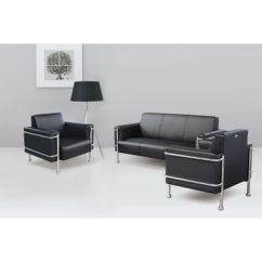 Steel Frame Sofa Furniture In Bangalore China 3 People Seat Modern Pu Leather Office Sets With Customized Colors