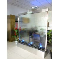 stainless steel water fountain indoor glass waterfall ...