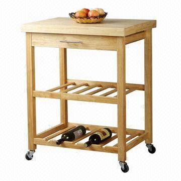 oak kitchen cart cabinet for appliances trolley with drawer and wine rack global sources china