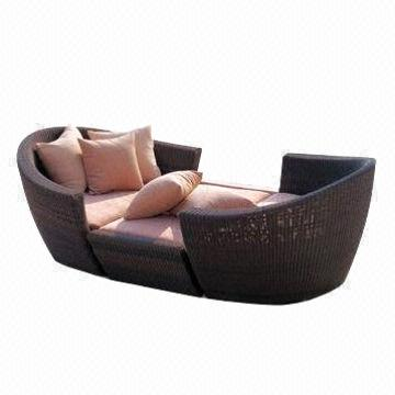 sofa lounger outdoor sofas miami florida sun bed made of rattan with 1 2mm china