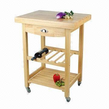 oak kitchen cart drop in sink with drawer wine rack and shelf global sources china