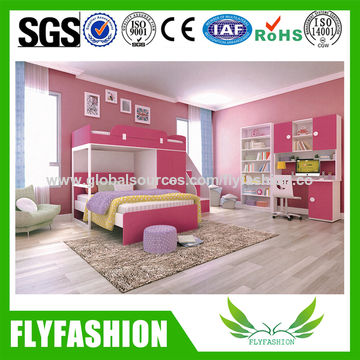 Global Sources China Children Bedroom Furniture Pink Bunk Bed For Girl Bd 03