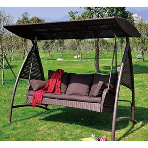 luxury 3 seats rattan wicker patio swing