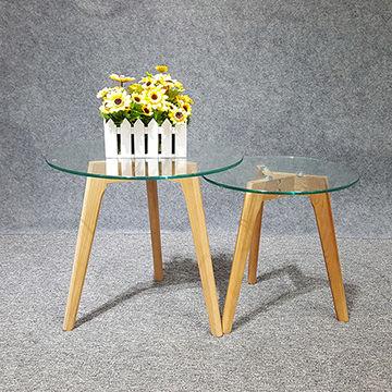 glass coffee table set wood leg