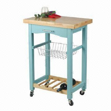 wire kitchen cart island work station in light blue color with drawer basket and wine china