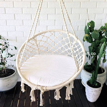 basket swing chair india broyhill lenora club handmade macrame hammock cotton woven rope