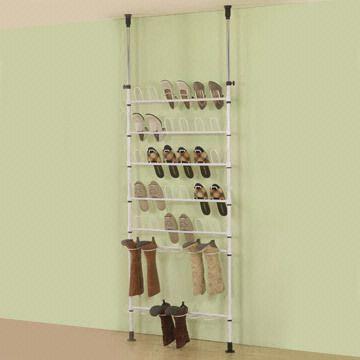 shoe rack in floor to ceiling mount