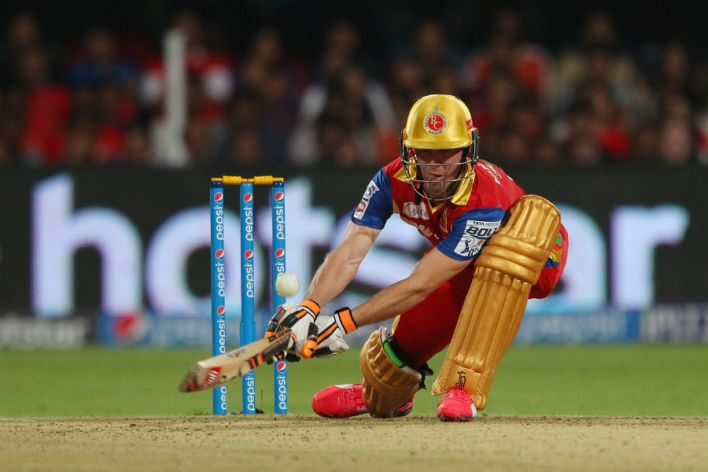 AB de Villiers plays one of his more innovative shots | Photo | Pepsi IPL |  ESPNcricinfo.com