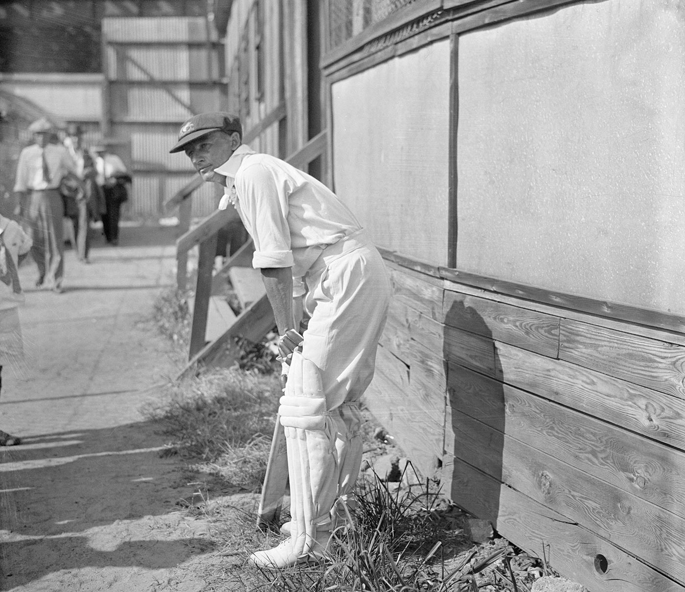 On the sidelines of a match against a West Indian side in New York, during Australia's tour of the USA in 1932
