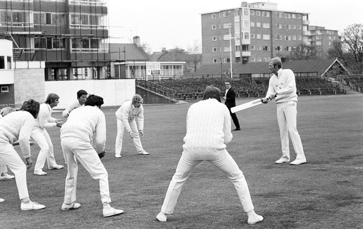 Greig leads a Sussex practice session at the start of the season in 1974