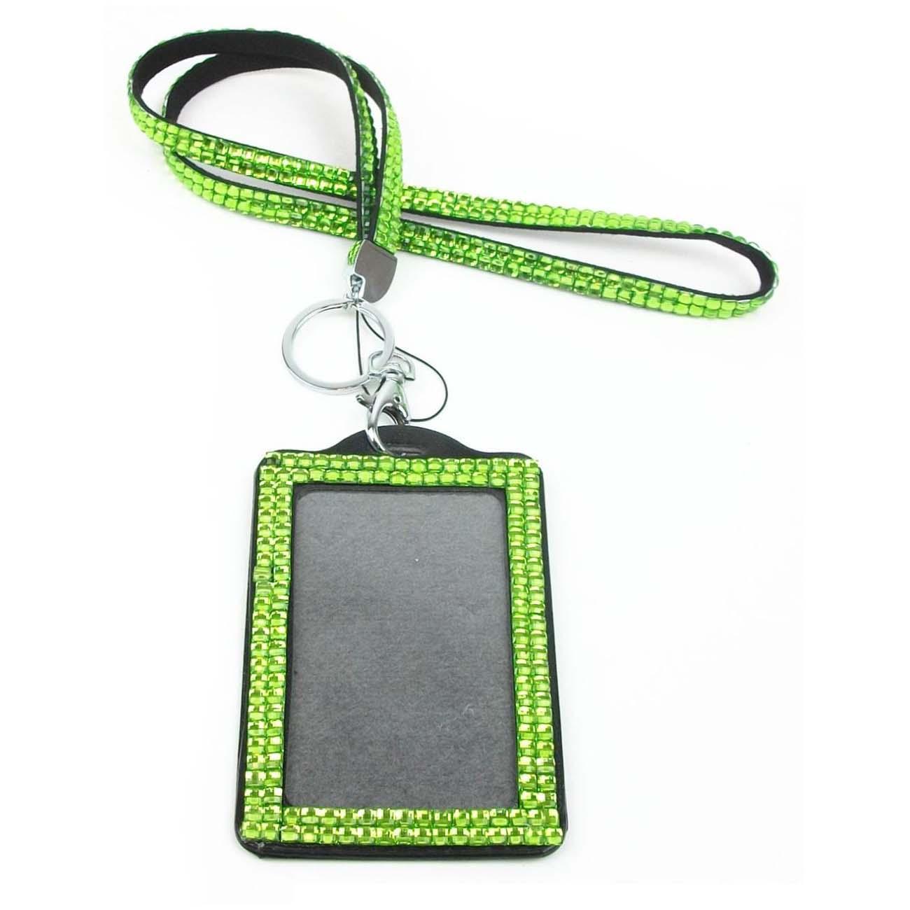 Rhinestone Bling Crystal Custom Lanyard Vertical ID Badge