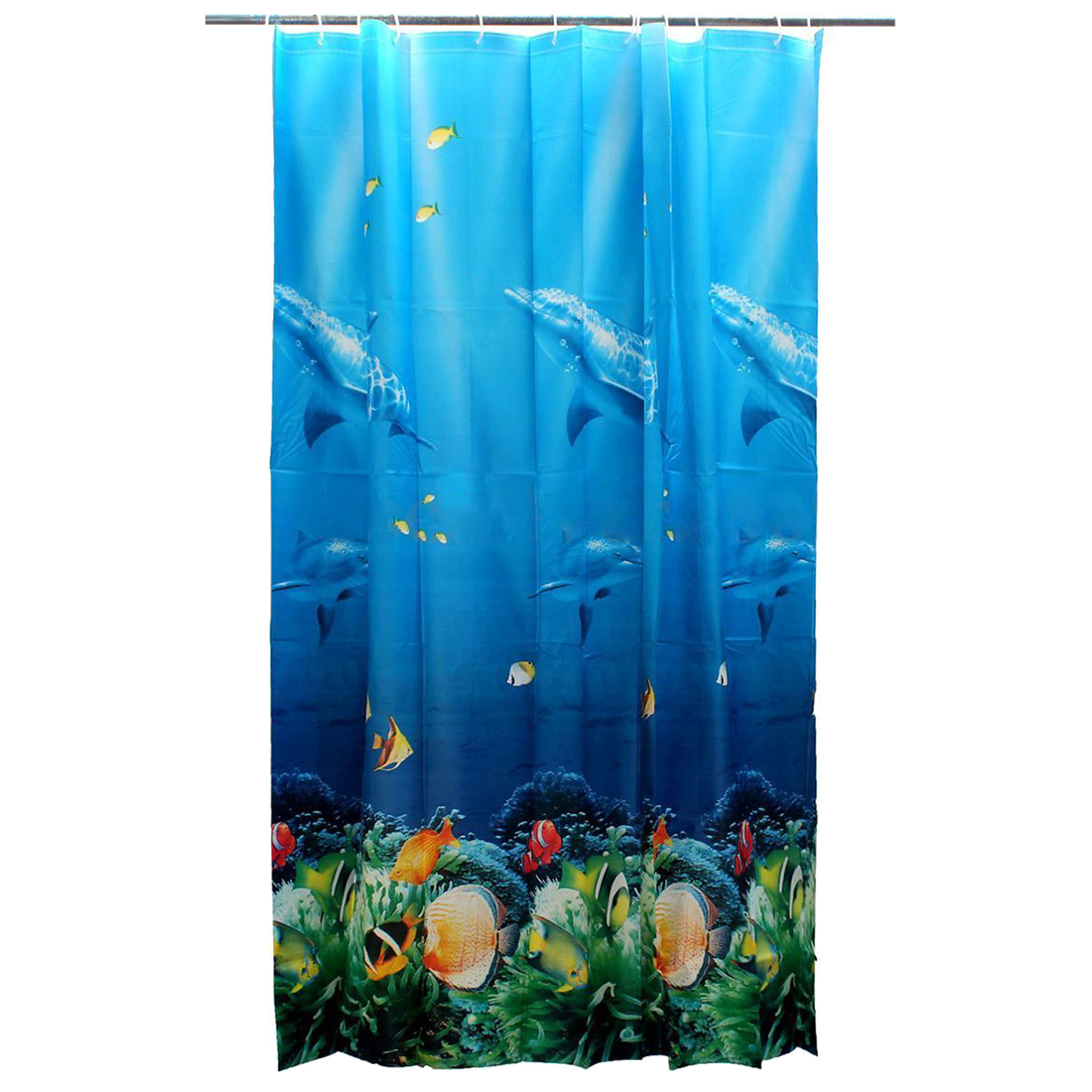 Blue Turquoise Coral White Fabric Shower Curtain Shower