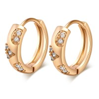 Gold plated Hoop Earrings for women CZ Stone Earring BT | eBay